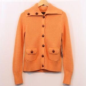 Carole Little Orange Chunky Knit Cardigan Sweater